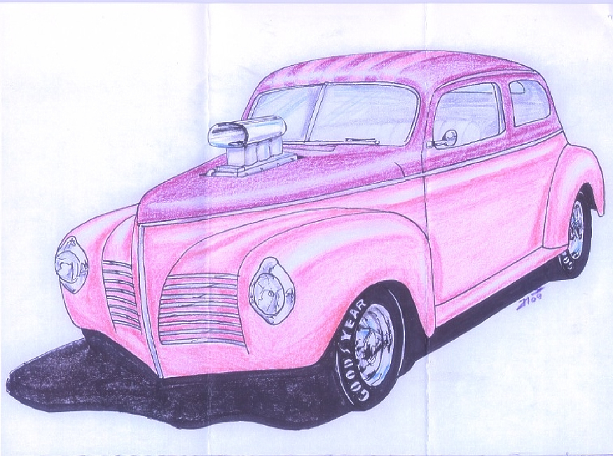 Shirley's '40 Plymouth drawing