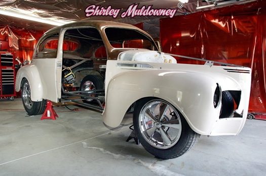 Front 3/4 of Shirley Muldowney's 40 Plymouth beginning the project build